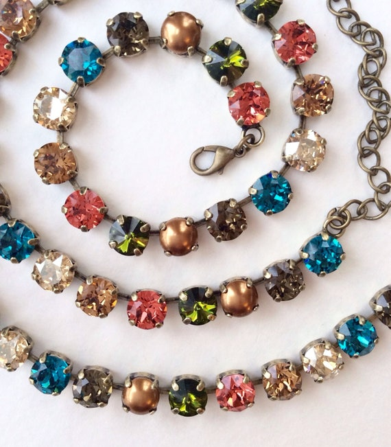 """Swarovski Crystal & Pearl 8.5mm Necklace - """" New England Fall """"  Gorgeous Neutrals With Fiery Accents  Designer Inspired -FREE SHIPPING"""