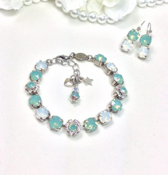 Swarovski Crystal 8.5mm Bracelet With Flowers - Pacific & White Opal - Flowers for Your Wrist! - Pacific/White Opal Earrings - FREE SHIPPING