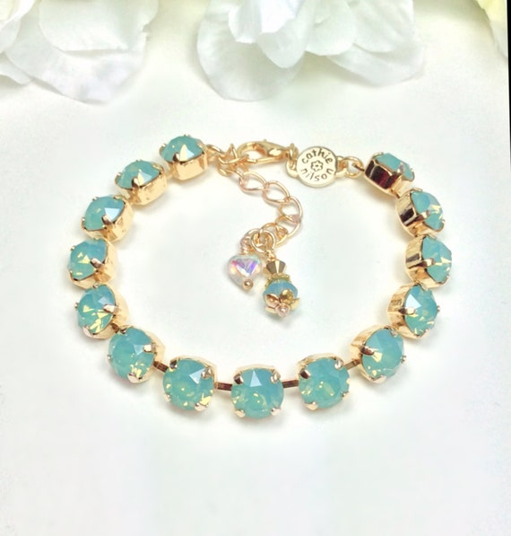 Swarovski Crystal 8.5mm Bracelet  Gorgeous Pacific Opal -  Perfect Bridesmaid Gift - Designer Inspired - FREE SHIPPING
