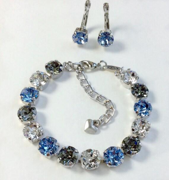 Swarovski Crystal 8.5mm Bracelet - Johnstown, PA. High School Colors   Black Diamond, Lt. Blue & Crystal  Designer Inspired - FREE SHIPPING