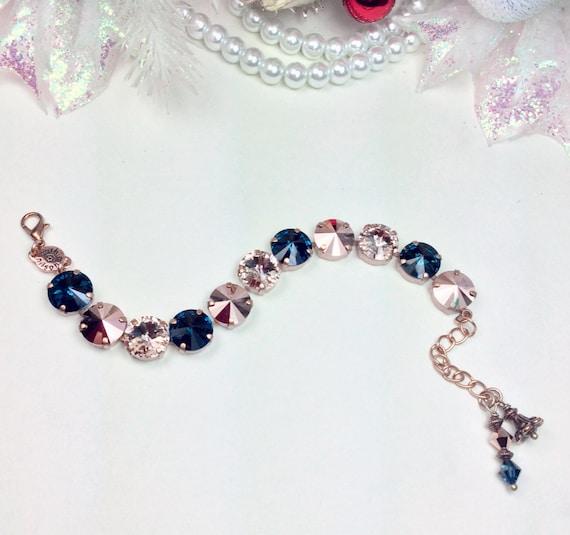 Swarovski Crystal 12MM Bracelet - Designer Inspired - Stunning - Rose Gold, Montana (Navy), & Champagne - SO Classy  - FREE SHIPPING