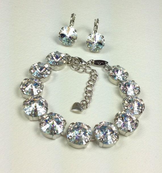 """Swarovski Crystal 12MM Bracelet & Earrings - Designer Inspired - """"White Patina"""" - Reminiscent Sparkle of Freshly Fallen Snow - FREE SHIPPING"""