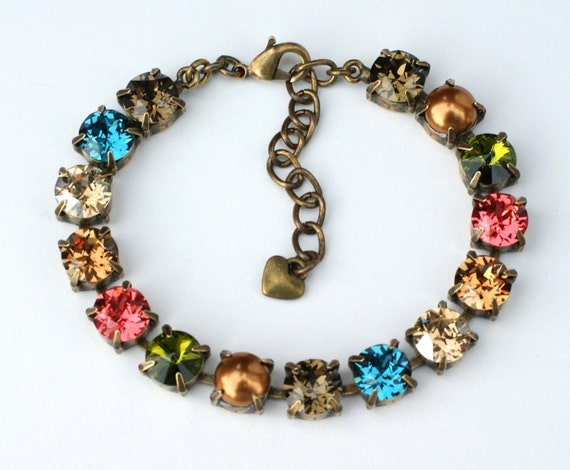 "Swarovski Crystal & Pearl 8.5mm Bracelet   "" New England Fall ""  -     Gorgeous Fall Colors ! - Designer Inspired - FREE SHIPPING"