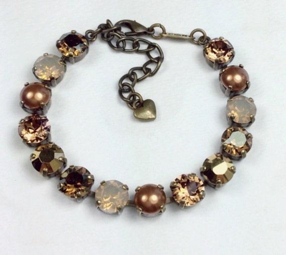 Swarovski Crystal 8.5mm Bracelet - Caramel, Cognac, Copper and Gold - Stunning Neutrals - Designer Inspired- FREE SHIPPING