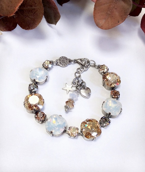 Swarovski Crystal 12MM Cushion Cut Deco Style Bracelet -Designer Inspired -Sparkle & Shimmer - Golden Shadow and White Opal - FREE SHIPPING