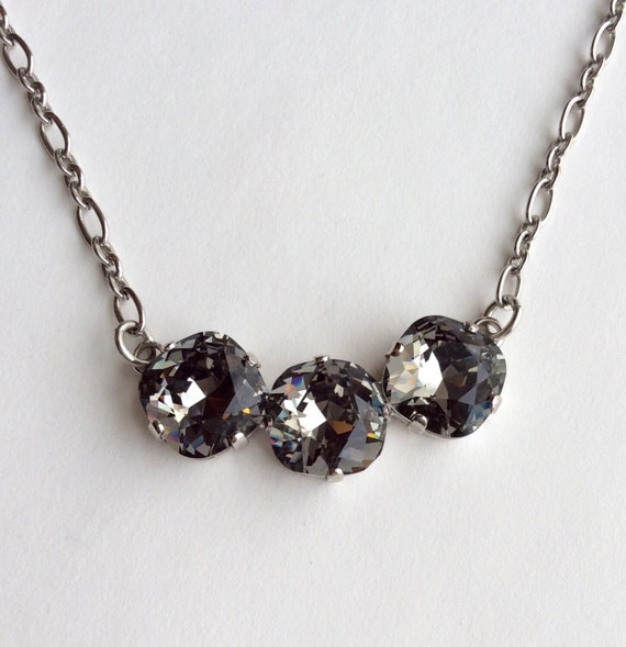 Swarovski Crystal Necklace 12MM Cushion Cut - Three Crystal Necklace Designer Inspired - Black Diamond   Sparkle & Shimmer - FREE SHIPPING