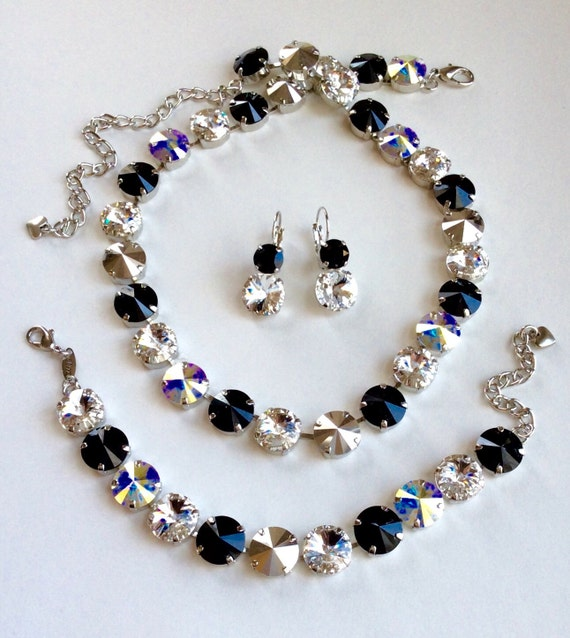Swarovski Crystal Necklace -  12MM  Jet, & Crystal Clear, with Silver and Aurora Borealis Accents - Designer Inspired -  FREE SHIPPING