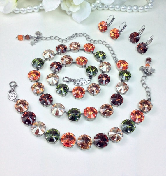 "Swarovski Crystal 12MM Necklace, Bracelet & Earrings  - Designer Inspired  ""Harvest Moon"" New Fall Shades - FREE SHIPPING"