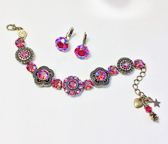 """Swarovski Crystal Bracelet - """" Byzantine Beauty """" Designer Inspired - Lt. Siam SHIMMER Crystals - FREE SHIPPING"""