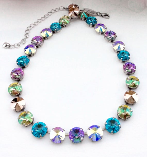 Swarovski Crystal 12MM Necklace - Shimmering Pastel Colors and Rose Gold - Beautiful & Stunning - Designer Inspired - FREE SHIPPING