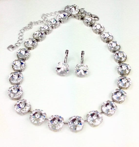 Swarovski Crystal 12MM Radiant Clear Crystal Necklace - Designer Inspired  - Stunning  & Classy- SALE - FREE SHIPPING