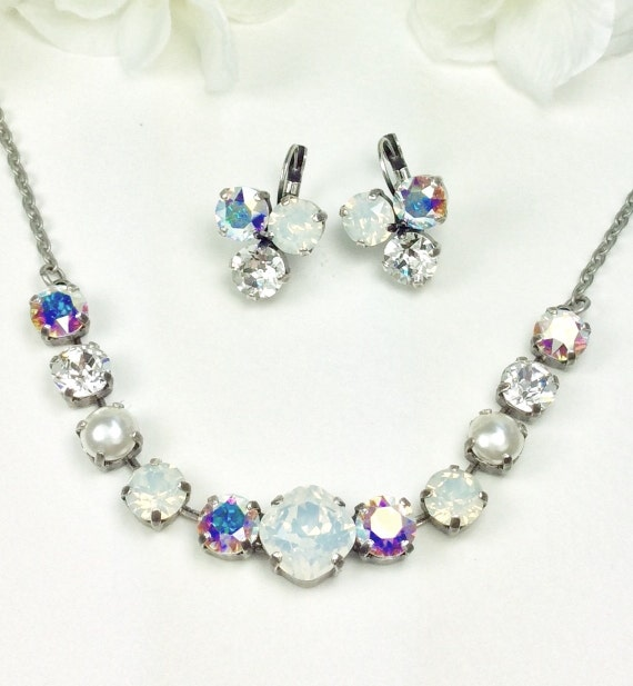 "Swarovski Crystal Necklace 12MM/8.5mm - "" Bridal Whites ""  White Opal, Crystal and Aurora Borealis    Sparkle & Shimmer - FREE SHIPPING"