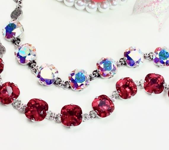 Swarovski Crystal 12MM Cushion Cut Deco Style Bracelet -Designer Inspired -Sparkle & Shimmer - Scarlet or Aurora Borealis - FREE SHIPPING