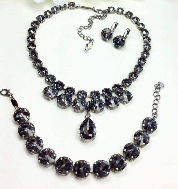 "Swarovski Crystal 12MM /8.5mm Necklace - Designer Inspired - Silver Night ""Goddess"" Necklace, Pear Shape Drop, &  Bracelet - FREE SHIPPING"