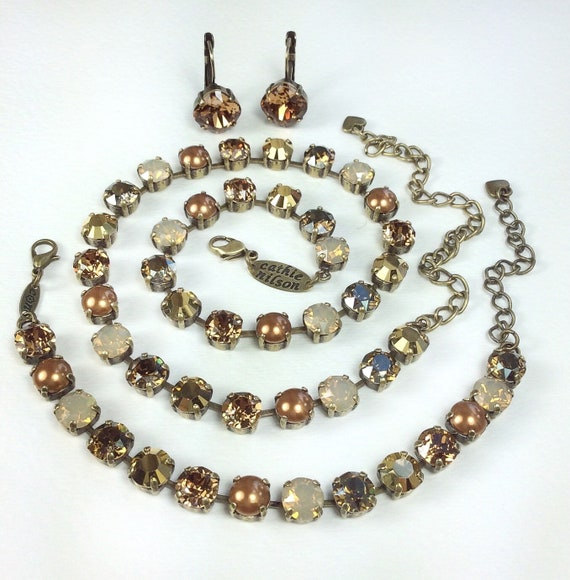 Swarovski Crystal Necklace  - Designer Inspired - 8.5mm Caramel, Cognac, Copper and Gold Shades - Stunning Neutrals - FREE SHIPPING