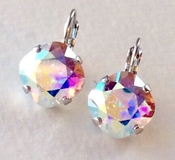 Swarovski Crystal 12MM Cushion Cut, Lever- Back Drop Earrings - Designer Inspired - Aurora Borealis - On SALE - FREE SHIPPING