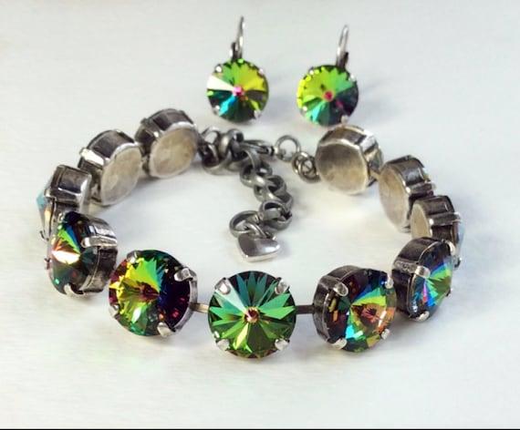 Swarovski Crystal 12MM Bracelet / Earrings  - Designer Inspired -  Radiant & Mysterious Vitrail Medium - Classy - FREE SHIPPING