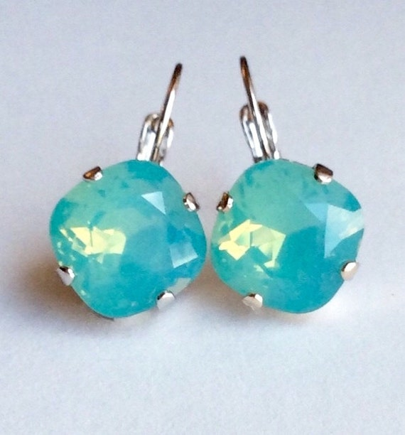 Swarovski Crystal 12MM Cushion Cut,  Lever- Back Drop Earrings - Designer Inspired - Pacific Opal - On SALE -  FREE SHIPPING