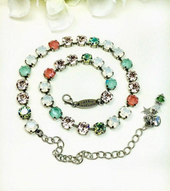 Swarovski Crystal 8.5mm Necklace - Soft Neutral Colors with a POP- White Opal, Lt. Silk, Mint & Lt. Coral- Designer Inspired - FREE SHIPPING