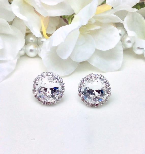 Swarovski Crystal 12MM Cushion Cut Stud Earrings With Halo - Gorgeous Earrings - Clear Crystal With Crystal Halo- SALE 35. - FREE SHIPPING