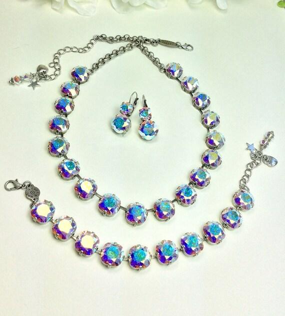 Swarovski Crystal Necklace - 12MM Cushion Cut Square Crystals - Stunning Aurora Borealis Bridal Necklace, Bracelet, Earrings - FREE SHIPPING
