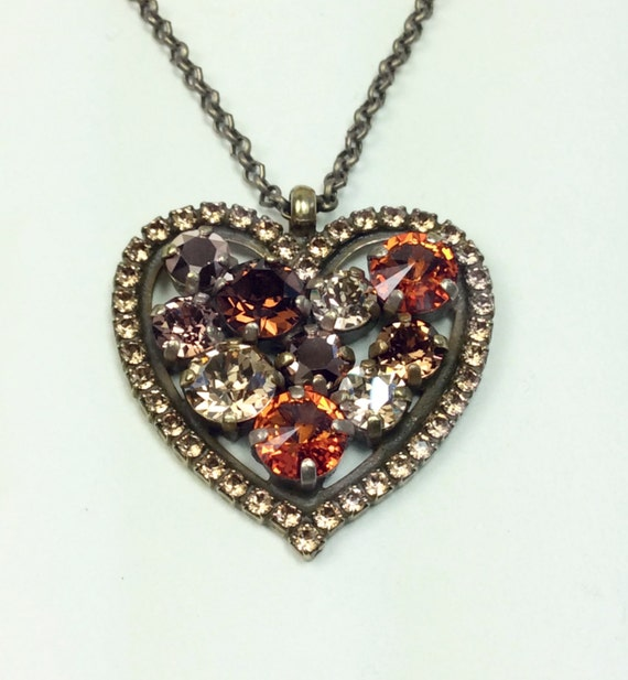 Swarovski Crystal - Heart Shaped - Add-On Charm - Chocolate Brown, Golden Shadow, Tangerine, Rose Gold   FREE SHIPPING - SALE - 35.