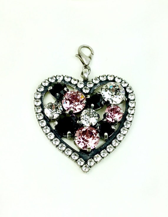 Swarovski Crystal - Heart Shaped - Add-On Charm -  Light Rose, Radiant Crystal Clear & Jet  -  FREE SHIPPING - SALE - 35.