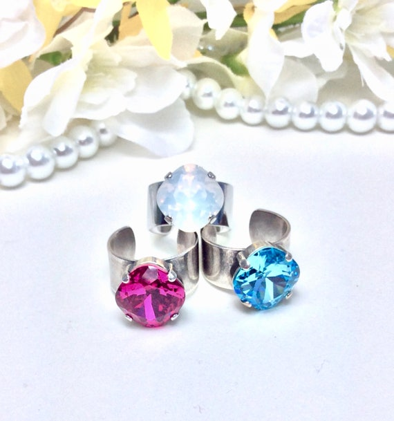 Swarovski Crystal 12MM Cushion Cut Deco Style Ring - Designer Inspired - Sparkle & Shimmer - Choose Your Color and Finish - FREE SHIPPING