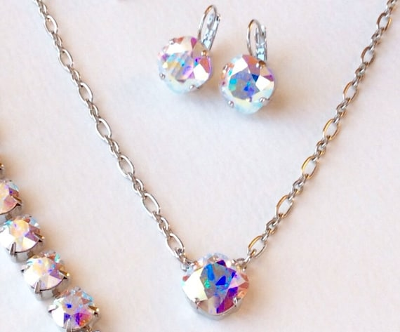 2 Pc. Swarovski Crystal Necklace / Earring Set - Designer Inspired - Radiant Aurora Borealis -  Beautiful Gift Set - FREE SHIPPING