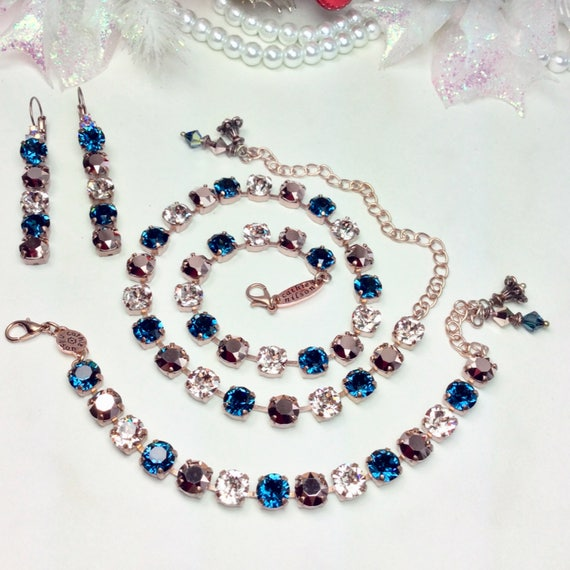 "Swarovski Crystal 8.5mm Necklace, Bracelet, & Earrings - ""Royal Jewels ""  Fit for a Princess - Designer  Inspired -FREE SHIPPING"