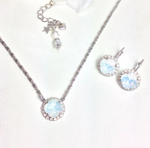 Swarovski Crystal - 12MM White Opal Cushion Cut Pendant With White Opal Halo - Necklace & Earring Set -  Designer Inspired - FREE SHIPPING