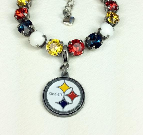 Swarovski Crystal 8.5mm Bracelet   Pittsburgh STEELERS Fan Bracelet!  (With or Without NfL Charm)  -  Designer Inspired - FREE SHIPPING