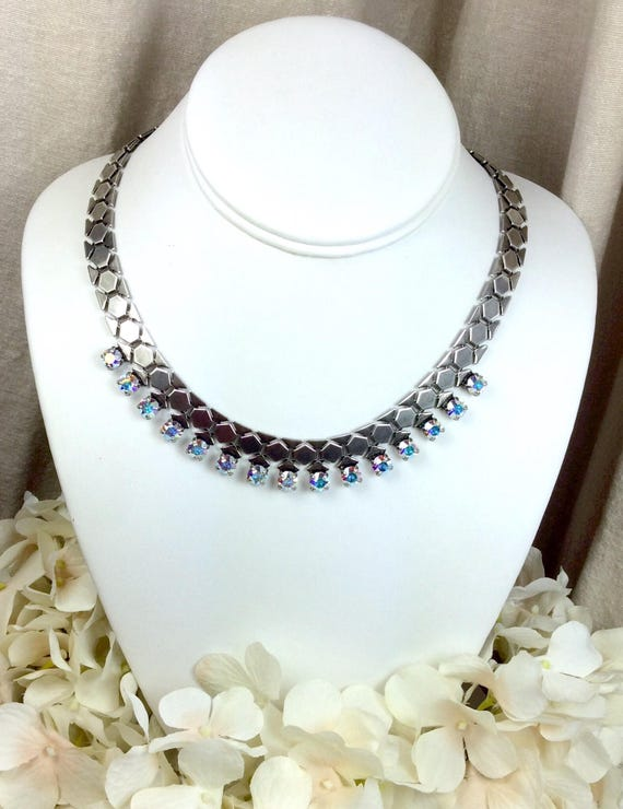 Swarovski Crystal 6mm and Honeycomb Necklace - Designer Inspired - A Stunning Perfect Pairing of Sparkle and Intricate Metal - FREE SHIPPING