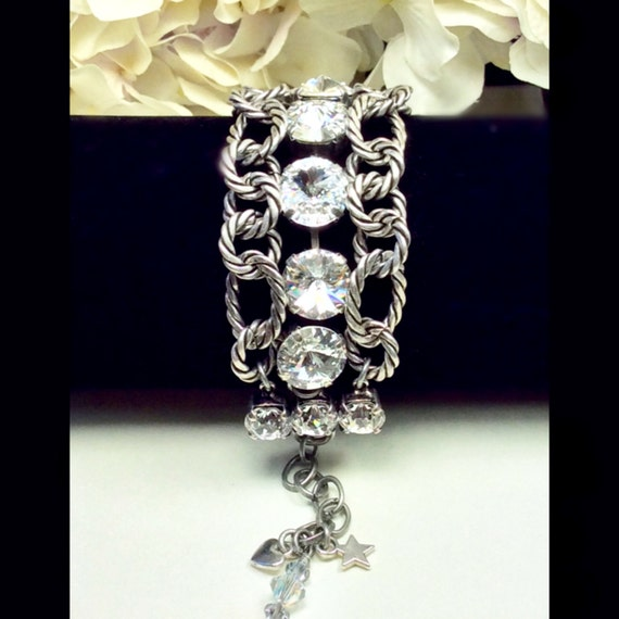 Swarovski Crystal 12MM Triple Row Chunky Antique Silver Bracelet - Designer Inspired - Absolutely Stunning, Classy Cuff - FREE SHIPPING