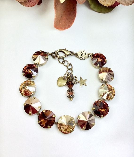 "Swarovski Crystal 12MM Bracelet - Brown and Golds "" Fall in Manhattan "" - Sophisticated Fall Shades -  Designer Inspired -FREE SHIPPING"
