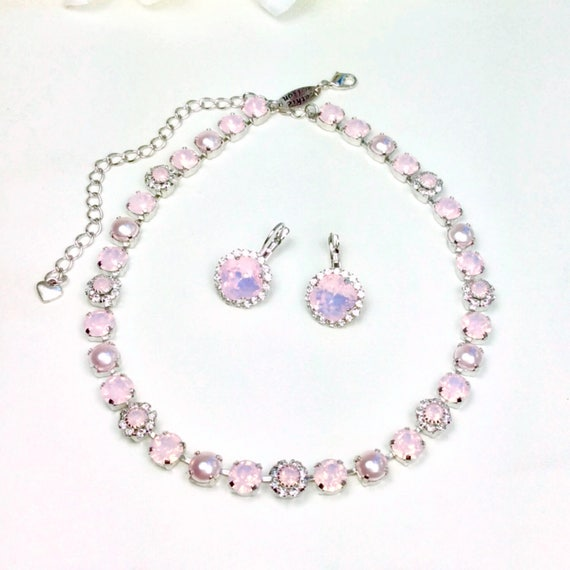 """Swarovski Crystal 8.5mm Necklace  - One Of A Kind  - """" Pale Pink Petals """"  - Feminine Flowers - FREE SHIPPING"""