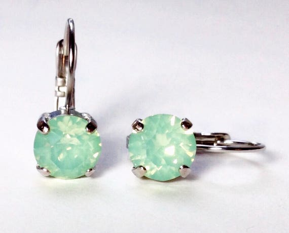 Swarovski Crystal 8.5mm Lever- Back Drop Earrings - Classy - Chrysolite  Opal - OR Choose Your Favorite Color and Finish -  FREE SHIPPING
