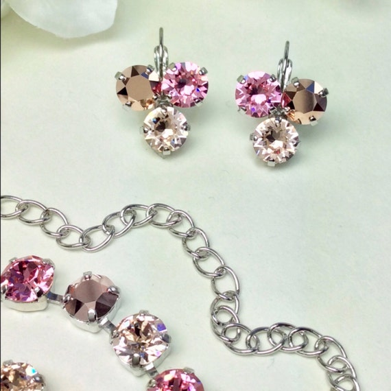 "Swarovski Crystal 8.5mm Earrings Three Stone - Lucky Clover Earrings  ""Rosy Horizons""- Lt. Rose, Rose Gold, Champagne  - FREE SHIPPING"