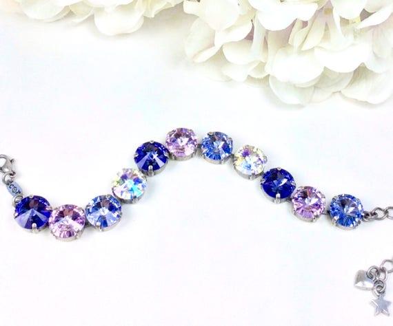 Swarovski Crystal 12MM Bracelet - Designer Inspired - Lavender, Tanzanite, Violet & Crystal Glacier Blue - Soft Pastel Colors- FREE SHIPPING