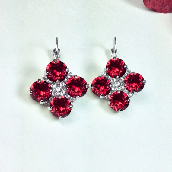 Swarovski Crystal 8.5mm Earrings - Four Stone Clover Earrings with Crystal Accent- New Scarlet Red, Jet or Custom Color - FREE SHIPPING