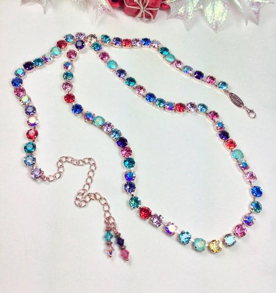 "Swarovski Crystal Necklace -Extra Long ""Mardi Gras"" Necklace - Elegant, Sumptuous Accent !  32""+ of Swarovski Sparkle! - FREE SHIPPING"