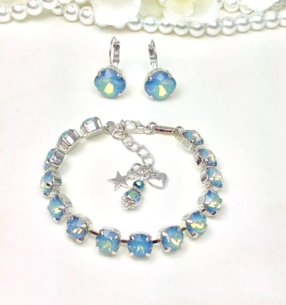 Swarovski Crystal 8.5mm Bracelet & Earrings - Rare White Opal STARSHINE   Stunning and Classy - Designer Inspired - FREE SHIPPING