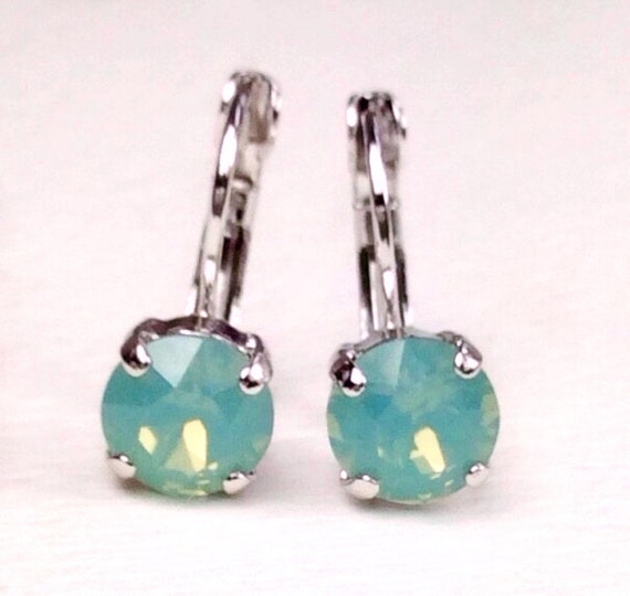 Swarovski Crystal 3PAIR of 8.5mm Lever- Back Drop Earrings - Choose Your Favorite Color and Finish  - Super SALE - 3 for 30.   FREE SHIPPING