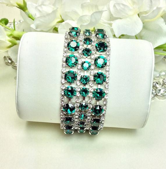 Swarovski Triple Row Emerald & Crystal Bracelet - Absolutely Stunning Bridal Cuff -Designer Inspired - FREE SHIPPING