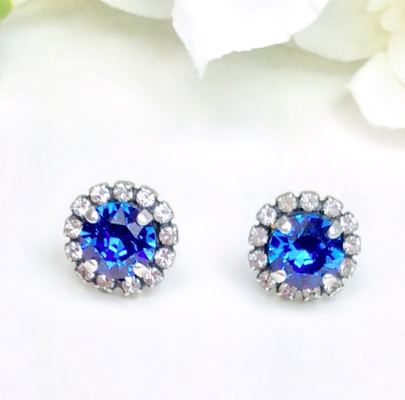 Swarovski Crystal 8.5mm Stud Earrings with Swarovski Crystal Halo -Very Classy - Sapphire - OR Choose Your Favorite Color  -  FREE SHIPPING