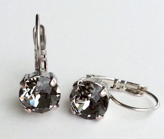 Swarovski Crystal 8.5mm Lever- Back Drop Earrings - Classy - Black Diamond -  OR Choose Your Favorite Color and Finish -  FREE SHIPPING