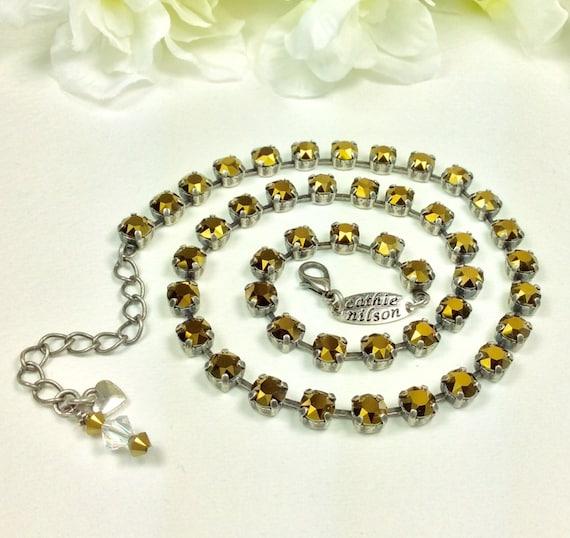 Swarovski Crystal Necklace -  Designer Inspired -  Dainty 6mm Radiant Gold Crystal Dorado