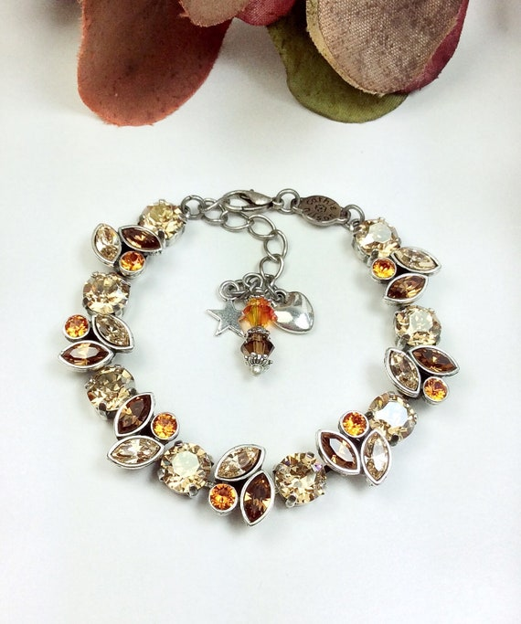 Swarovski Crystal 8.5 & 8x4mm Navettes Bracelet - Fall Leaves in Brown, Lt. Silk and Golden Shadow with Tangerine Accents - FREE SHIPPING