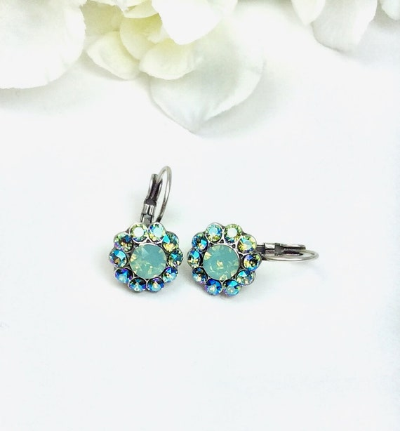 Swarovski Crystal 6mm Halo Drop Earrings - Pacific Opal and Erinite Shimmer - Pure Sophistication - FREE SHIPPING