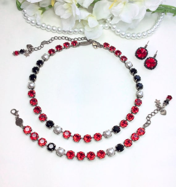 """Swarovski Crystal 8.5mm Necklace - """"Royal Red"""" - Rich Red, Jet, & Creamy White Pearls - Designer Inspired -  Sophistication+ - FREE SHIPPING"""